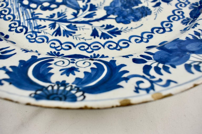 Earthenware Dutch Delft Chinoiserie Faïence Tin-Glazed Floral Cobalt Blue Charger For Sale