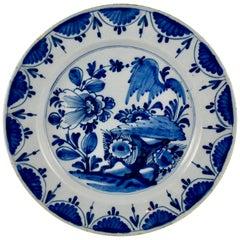 18th Century Dutch Delft Faïence Chinoiserie Style Landscape Cobalt Blue Charger