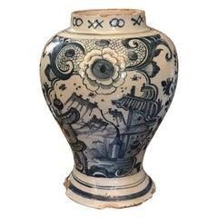 18th Century Dutch Delft Pottery Blue and White Vase / Jar / Urn Antiques LA CA