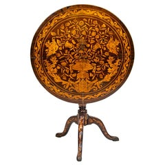 18th Century Dutch Floral Marquetry Tilt Top Tripod Table