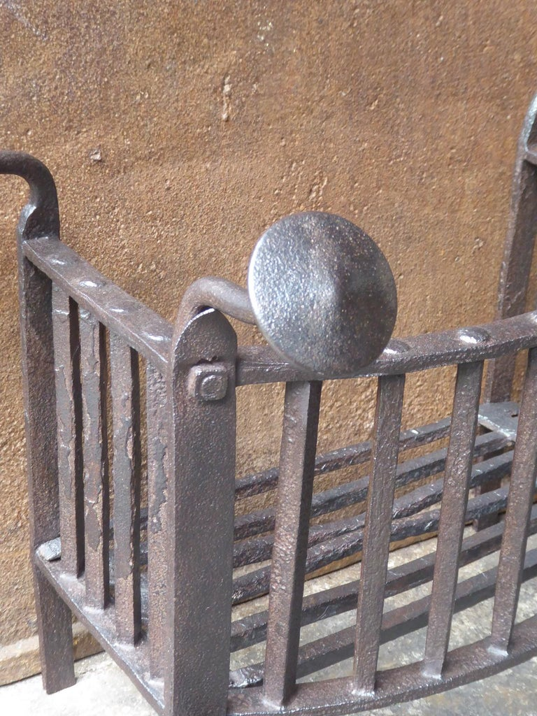 Wrought Iron 18th Century Dutch Georgian Fireplace Grate or Fire Grate For Sale