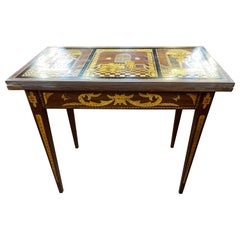 18th Century Dutch Louis XVI Mahogany Fruitwood Inlay Game Table, 1790s