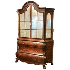 18th Century Dutch Marquetry Bookcase / Display Cabinet