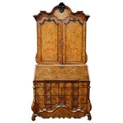 18th Century Dutch Marquetry Bureau Bookcase