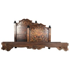 18th Century Dutch Marquetry Mahogany Single Bed Frame with Colorful Inlay