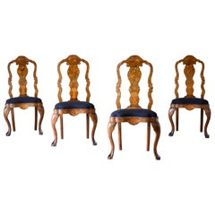 18th Century Dutch Marquetry Side Chairs