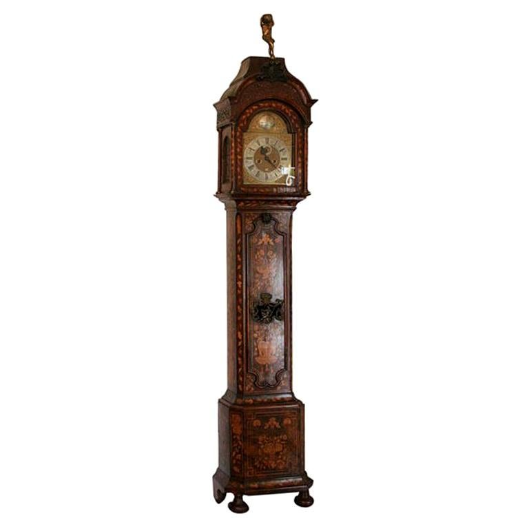 18th Century Dutch Marquetry Tall Case Clock