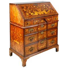 18th Century Dutch Marquetry Walnut Bureau