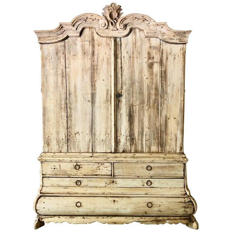 18th Century Dutch Oak Bleached Cabinet For Sale