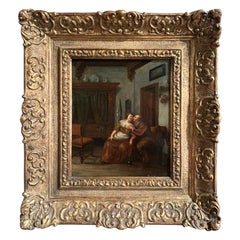 18th Century Dutch Oil on Board Painting in Carved Gilt Frame