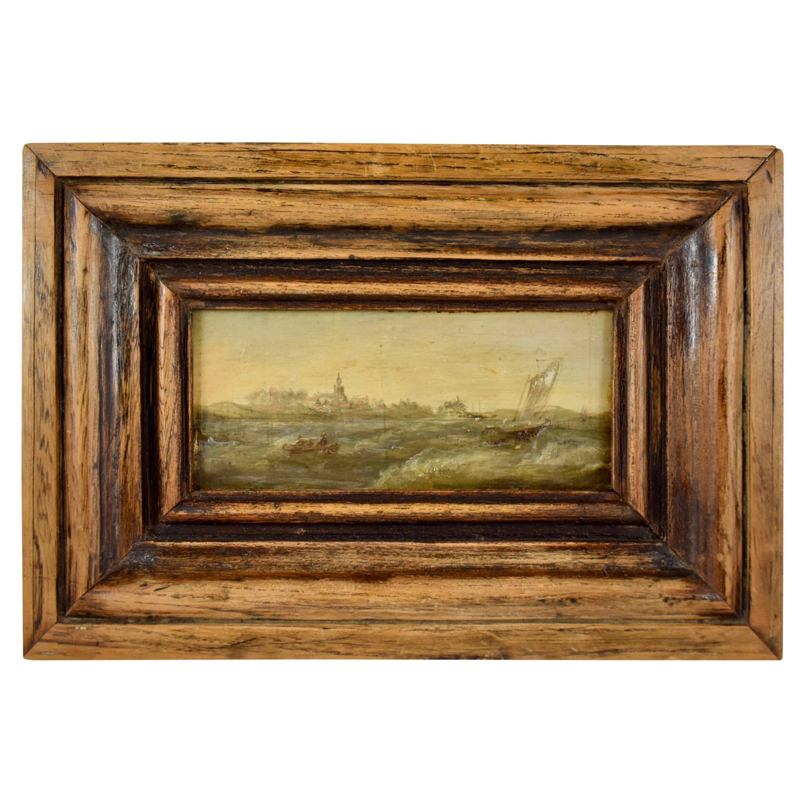18th Century Dutch Oil on Board Seascape Painting in a Custom Walnut Wood Frame
