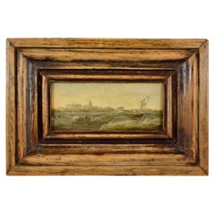 18th Century Dutch Oil on Board Seascape Painting in a Custom Walnut Wood Frame