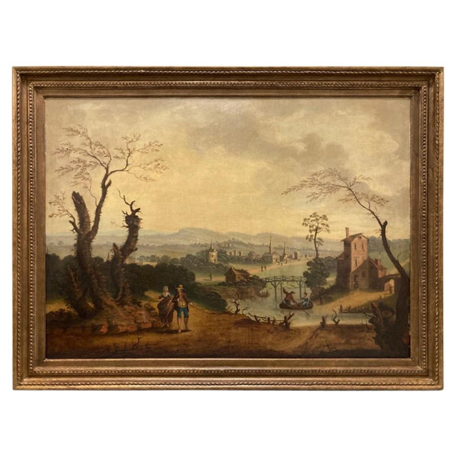 18th Century Dutch Oil on Canvas Landscape with Figures and Buildings
