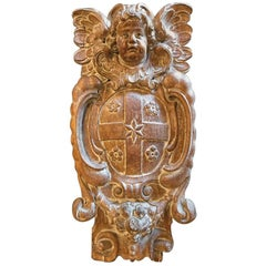 18th Century Dutch or Flemish Carved Oak Armorial Shield with Putto