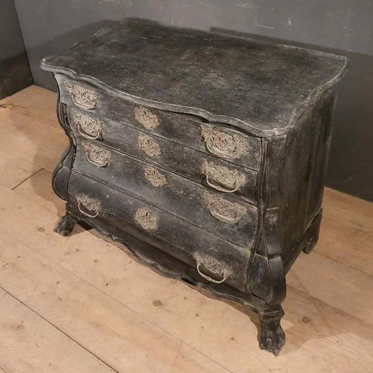 Oak 18th Century Dutch Painted Bombe Commode For Sale