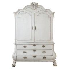 18th Century Dutch Painted Wardrobe, Linen Cabinet