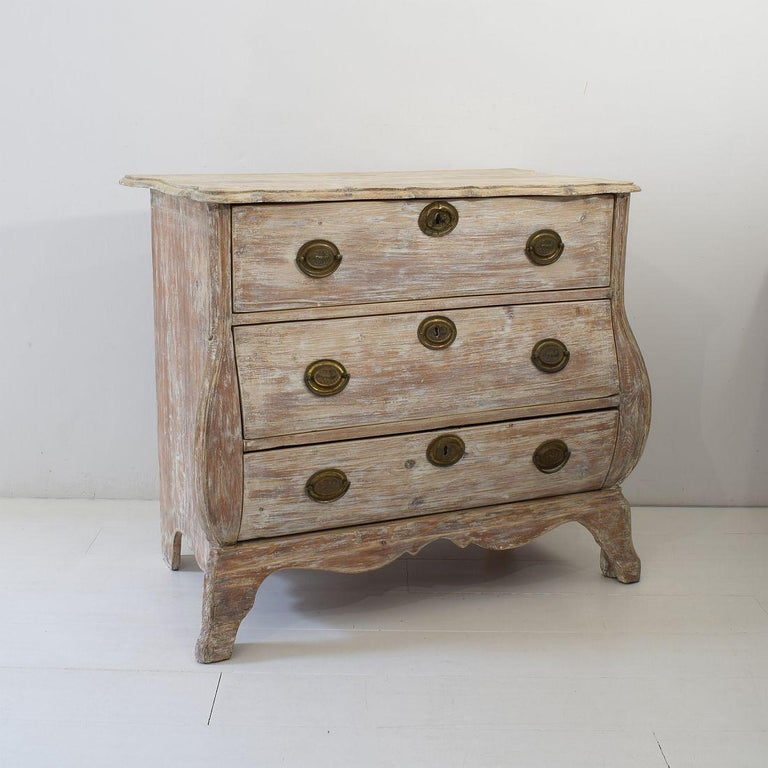 18th Century and Earlier 18th Century Dutch Pine Bombe Chest of Drawers For Sale