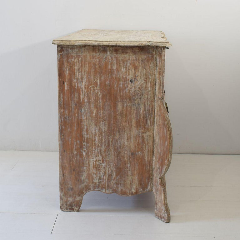 Wood 18th Century Dutch Pine Bombe Chest of Drawers For Sale