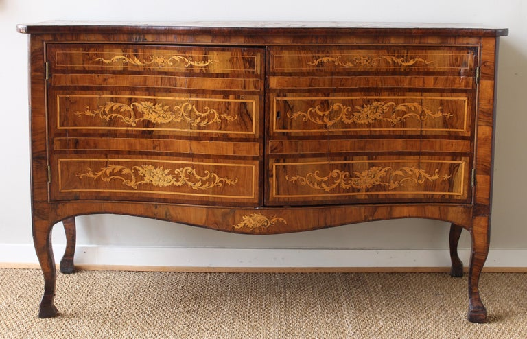 Fruitwood 18th Century Dutch Serpentine Front Marquetry Commode For Sale