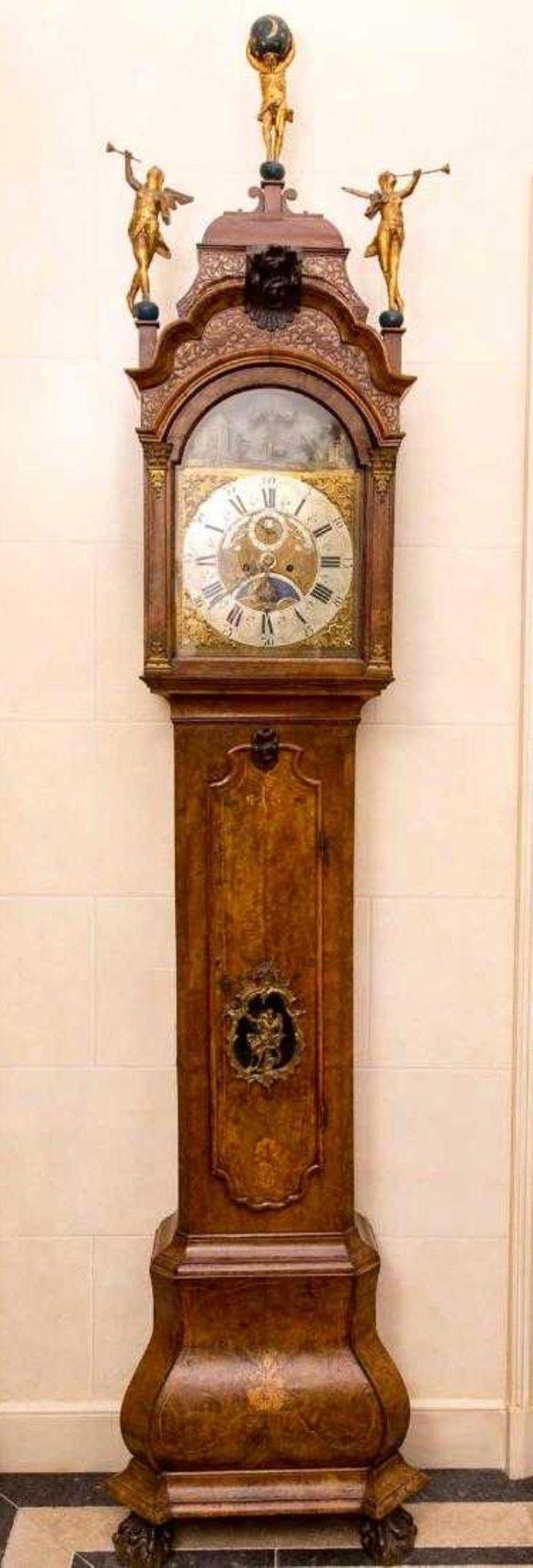 18th Century Dutch Tallcase Clock Animation Moon Phase Calendar Christoffel Abke For Sale At 1stdibs