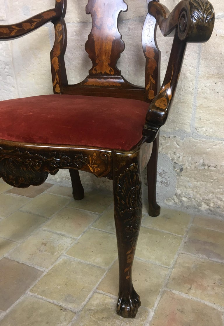 18th Century Dutch Walnut & Rosewood Armchair, Exceptional Marquetry & Carving For Sale 1
