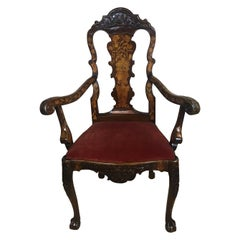 18th Century Dutch Walnut & Rosewood Armchair, Exceptional Marquetry & Carving