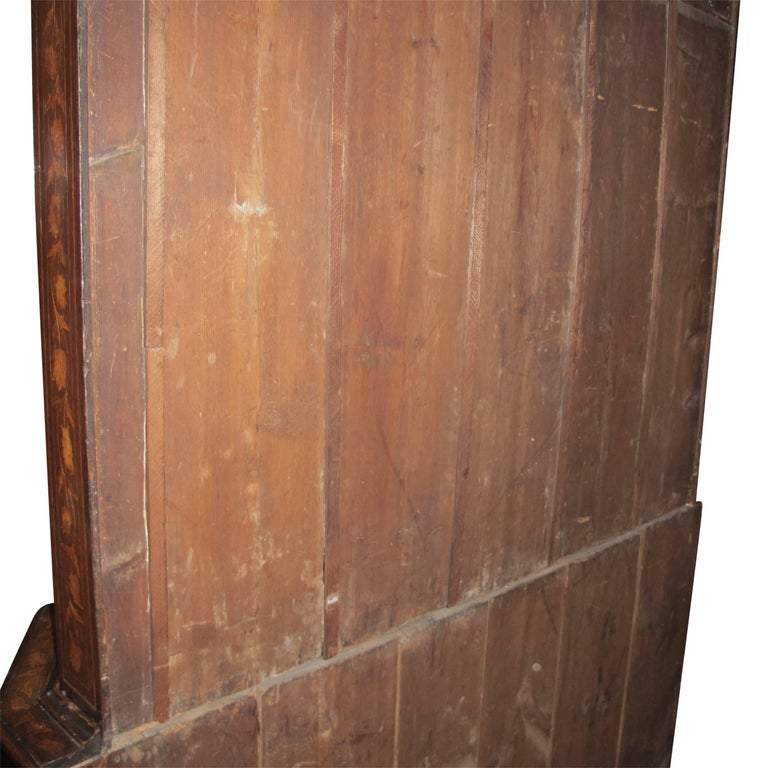 18th Century Dutch Walnut with Fruitwood Inlay Marquetry Cabinet Breakfront For Sale 7