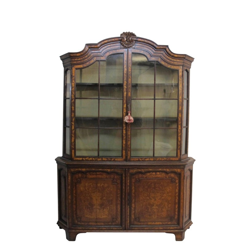18th Century Dutch Walnut with Fruitwood Inlay Marquetry Cabinet Breakfront In Excellent Condition For Sale In San Francisco, CA
