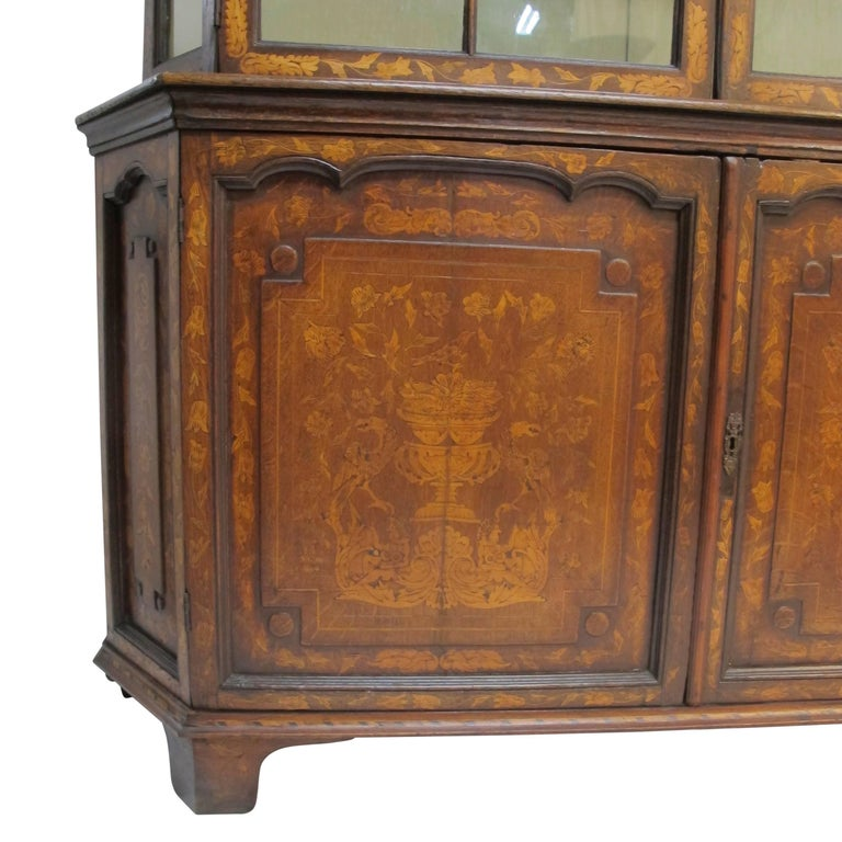 18th Century Dutch Walnut with Fruitwood Inlay Marquetry Cabinet Breakfront For Sale 1