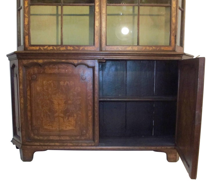 18th Century Dutch Walnut with Fruitwood Inlay Marquetry Cabinet Breakfront For Sale 3