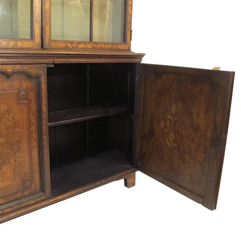 18th Century Dutch Walnut with Fruitwood Inlay Marquetry Cabinet Breakfront For Sale 4