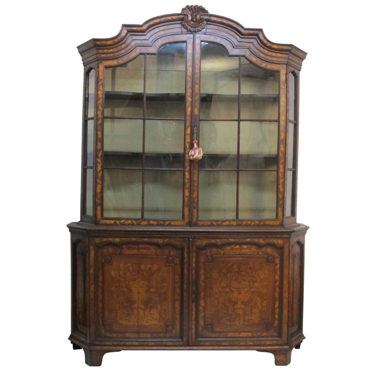 18th Century Dutch Walnut with Fruitwood Inlay Marquetry Cabinet Breakfront For Sale 5