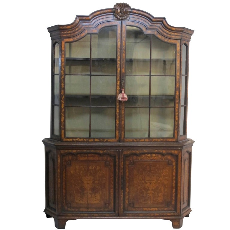18th Century Dutch Walnut with Fruitwood Inlay Marquetry Cabinet Breakfront For Sale