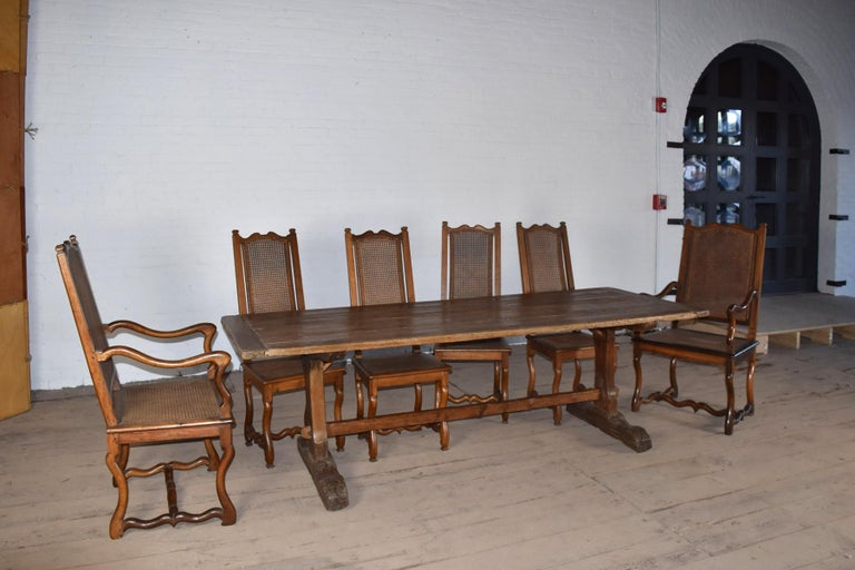 18th Century early American Rustic Pine Trestle Table For Sale 6