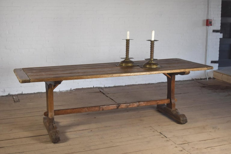 18th Century early American Rustic Pine Trestle Table For Sale 3