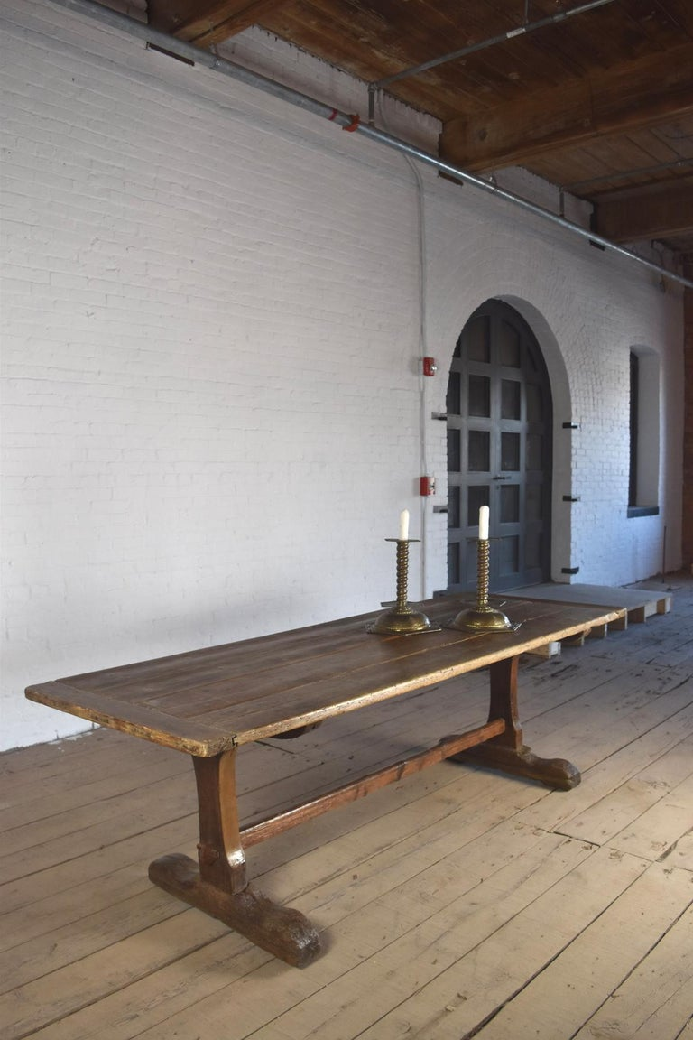 18th Century early American Rustic Pine Trestle Table For Sale 2