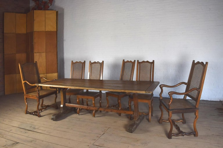 18th Century early American Rustic Pine Trestle Table For Sale 5