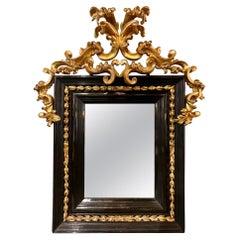18th Century Ebonized and Giltwood Mirror