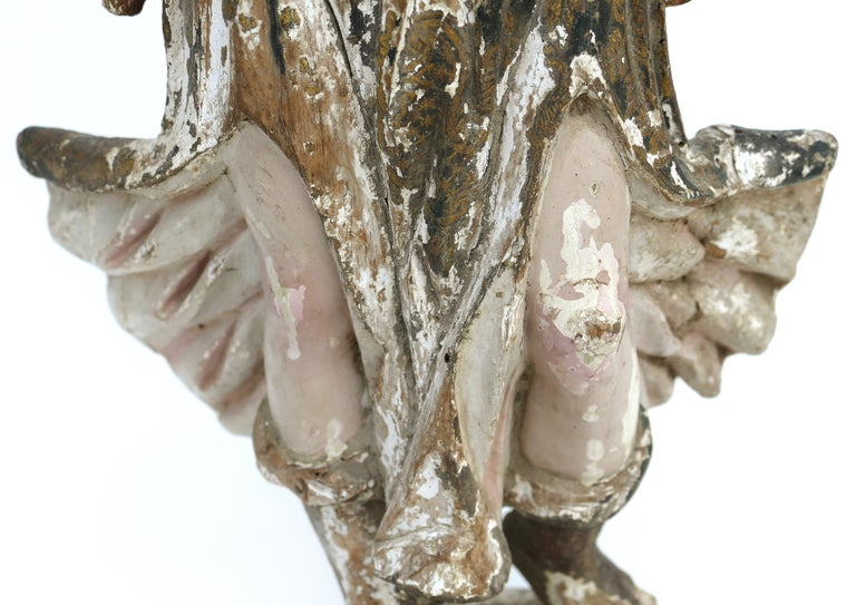 18th Century Ecclesiastical Carved Arcangel Sculpture, Gilt and Polychromed For Sale 5