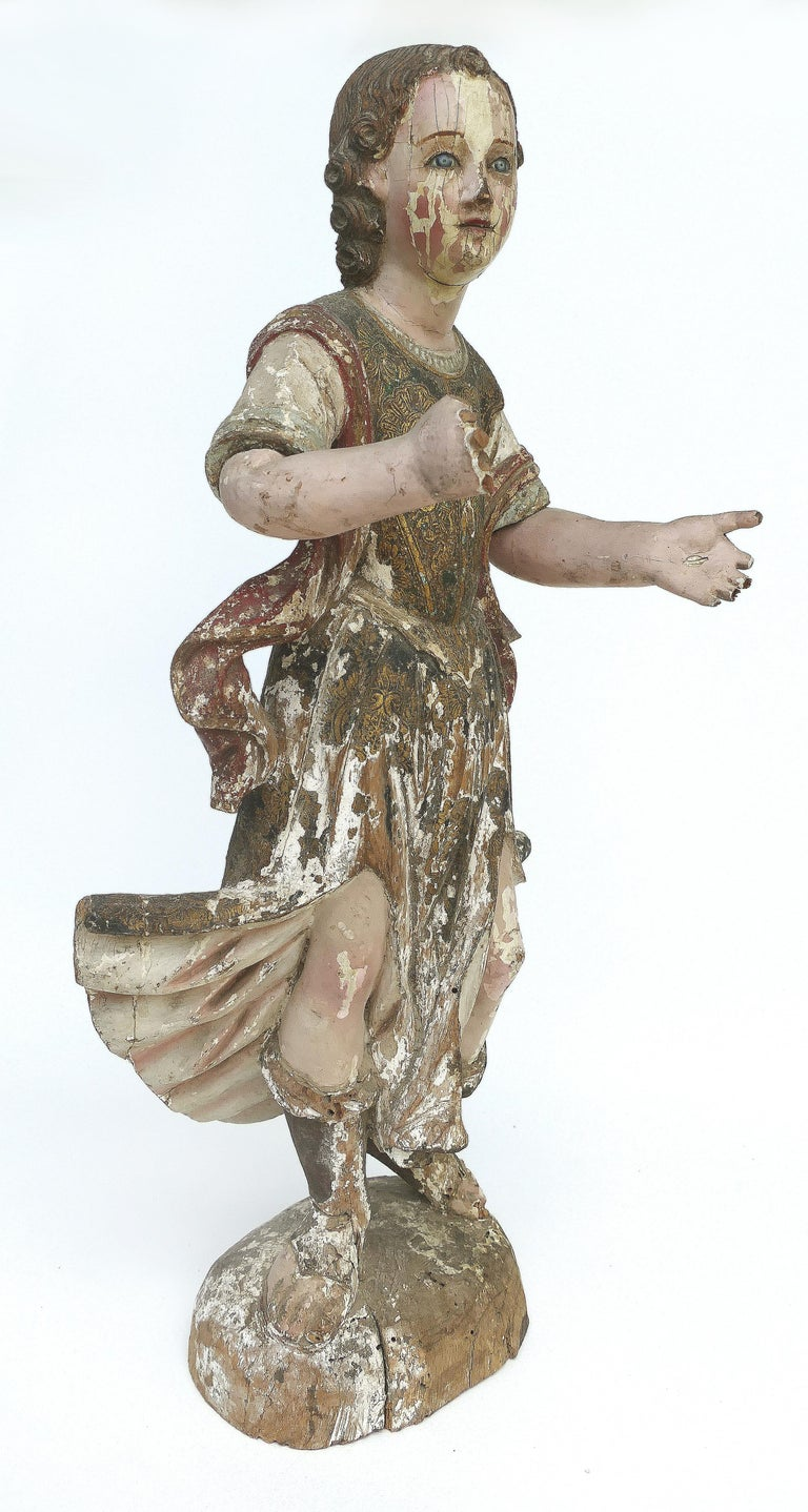 Spanish 18th Century Ecclesiastical Carved Arcangel Sculpture, Gilt and Polychromed For Sale
