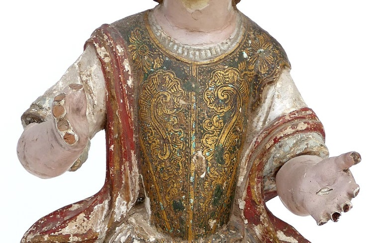 18th Century Ecclesiastical Carved Arcangel Sculpture, Gilt and Polychromed In Fair Condition For Sale In Miami, FL