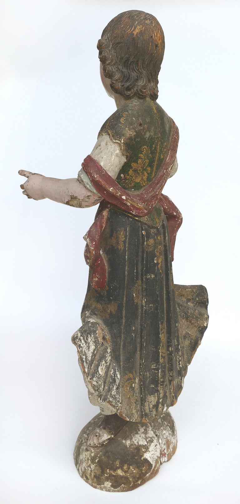 Glass 18th Century Ecclesiastical Carved Arcangel Sculpture, Gilt and Polychromed For Sale