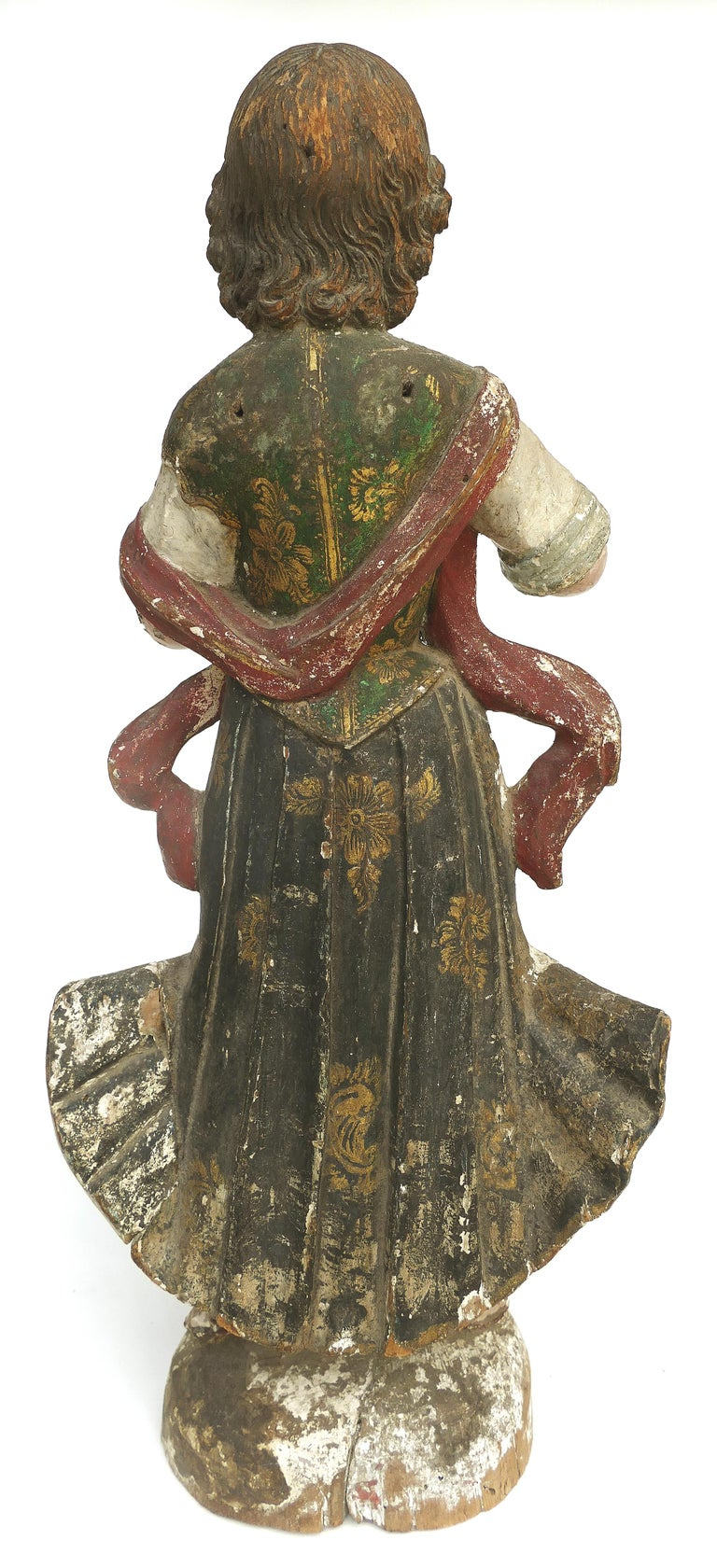 18th Century Ecclesiastical Carved Arcangel Sculpture, Gilt and Polychromed For Sale 1