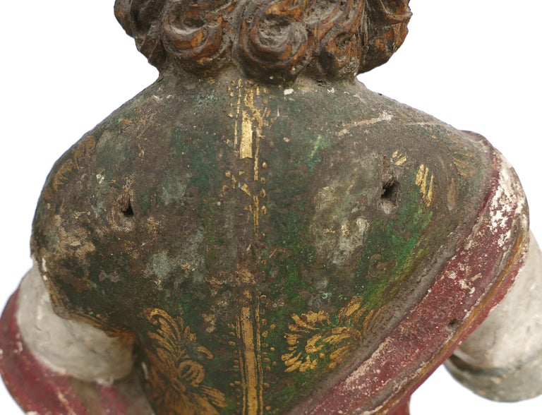 18th Century Ecclesiastical Carved Arcangel Sculpture, Gilt and Polychromed For Sale 2