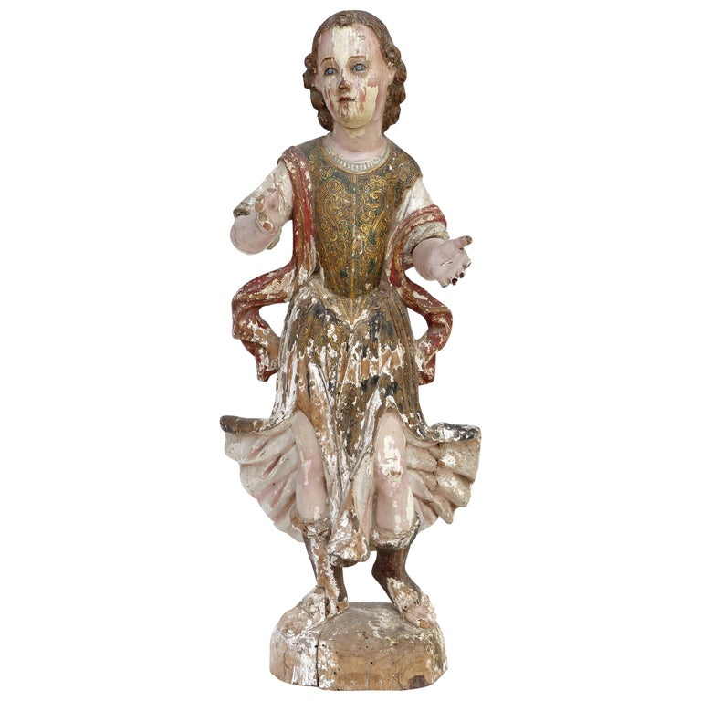 18th Century Ecclesiastical Carved Arcangel Sculpture, Gilt and Polychromed For Sale