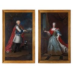 18th Century École Française Oil on Canvas Portraits