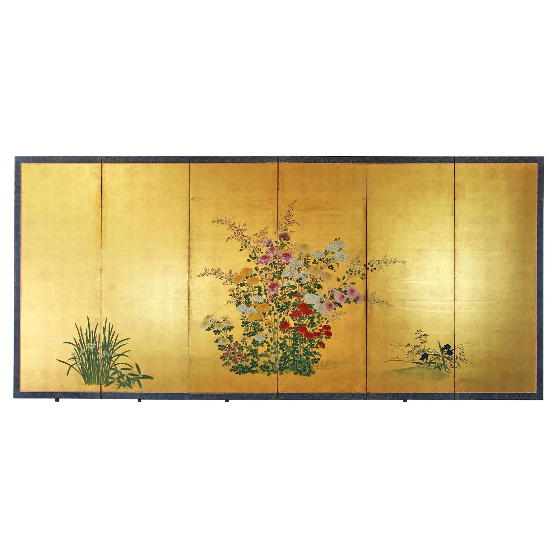 "18th Century Edo Japanese Folding Screen Six Panels ""Rinpa School"" Gold Leaf"