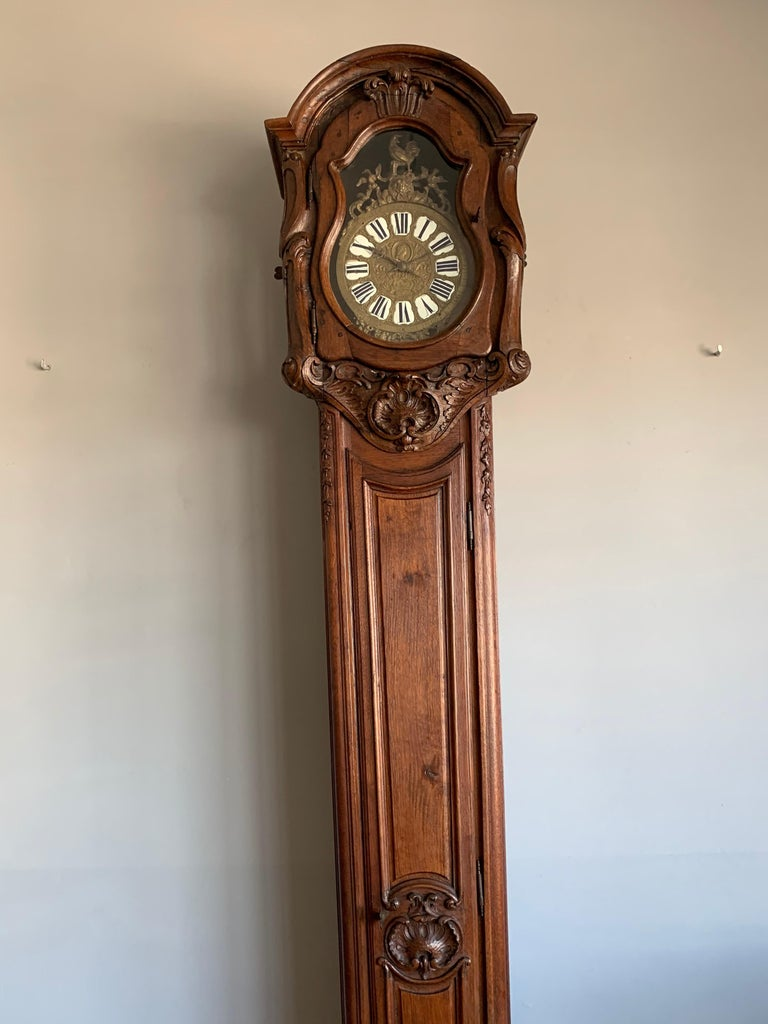 18th Century Elegant French Louis XIV Hand Carved Tall Case Clock with Rooster For Sale 6