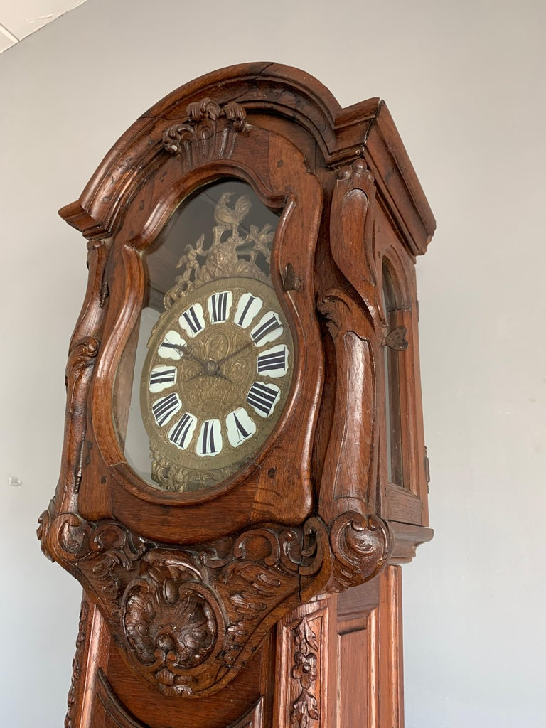 18th Century Elegant French Louis XIV Hand Carved Tall Case Clock with Rooster For Sale 10
