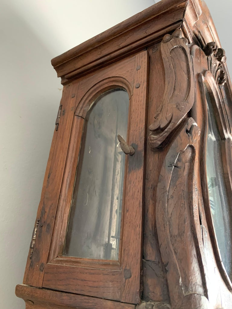 18th Century Elegant French Louis XIV Hand Carved Tall Case Clock with Rooster For Sale 11